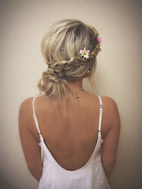 summer hairstyles hair up braid wrapped around to bun hair pinterest updo