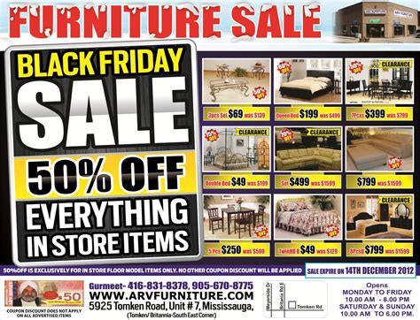 arv furniture flyers black friday sale 50 in store