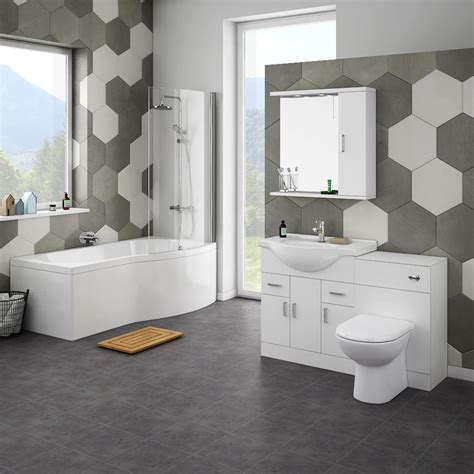 cove bathroom suite with b shaped shower bath