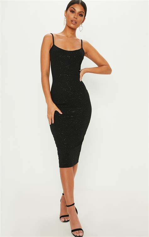 black glitter strappy midi dress dresses prettylittlething