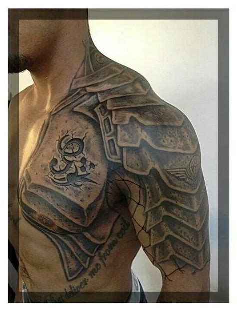 pauldron tattoo shoulder armor tats armor