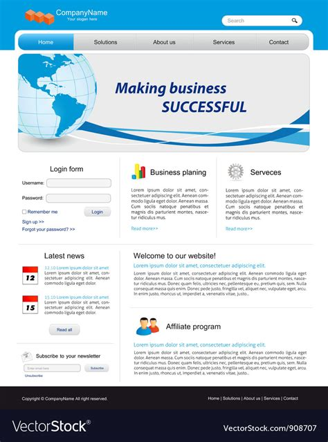 Business Website Template Royalty Free Vector Image Copyright Free Website Templates
