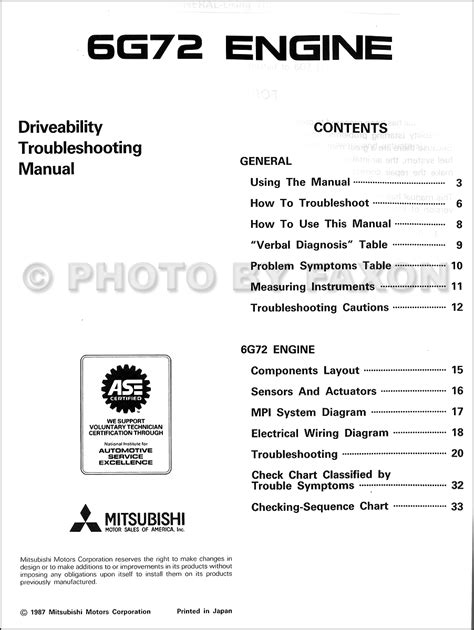 book repair manual 2012 mitsubishi galant engine control 1988 mitsubishi galant 6g72 engine driveability troubleshooting manual original