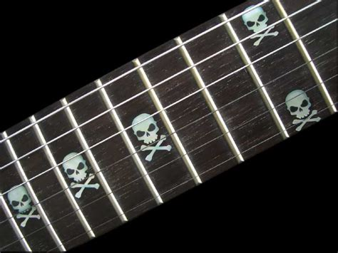 Inlay White skull white silver guitarfret markers inlay decal clickbd