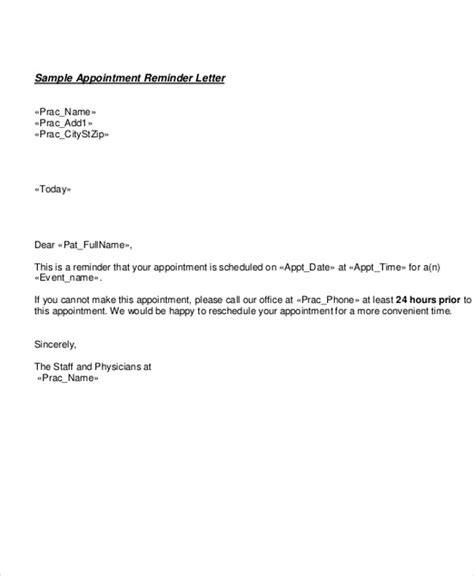 appointment reminder template sle appointment letter sle real estate