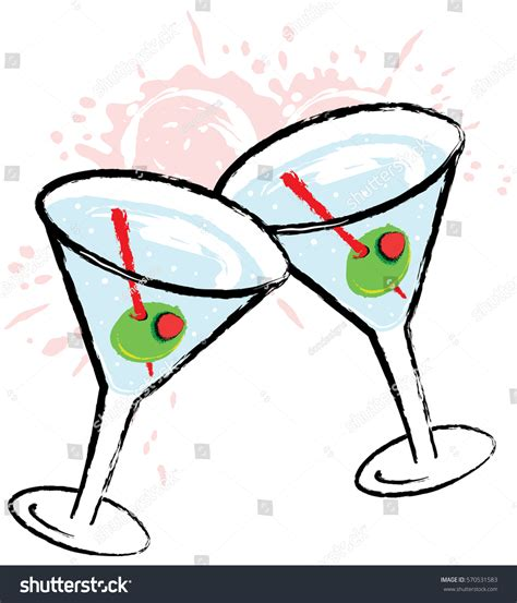 martini olive vector olive martini cocktail drink vector stock vector 570531583
