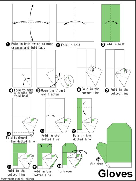 how to make origami gloves diagram