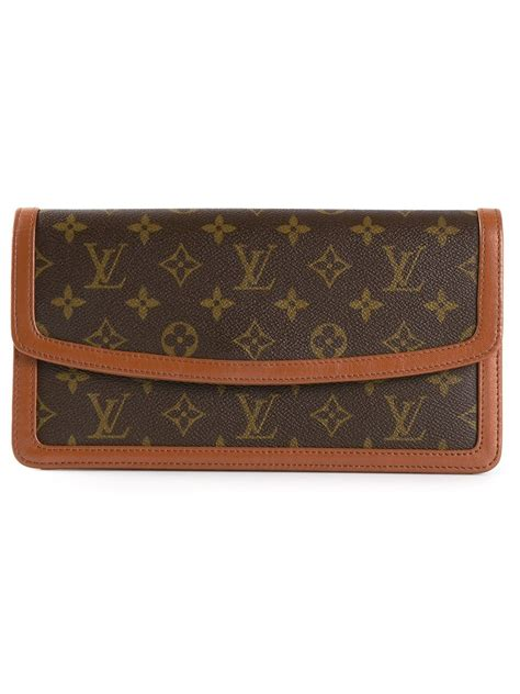 louis vuitton monogram dame clutch  brown lyst