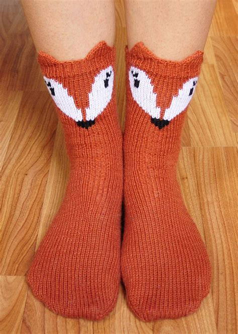 7 Sweet Looking Socks by Pawsome Pals Knitted Fox Socks With Ears Knitting Pattern