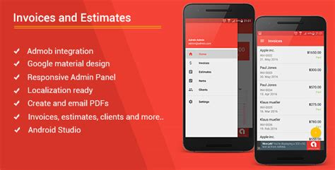 android templates for sale android invoices estimates template admob admin