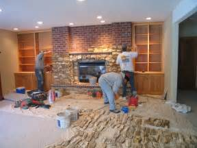 re cover a brick fireplace with house design