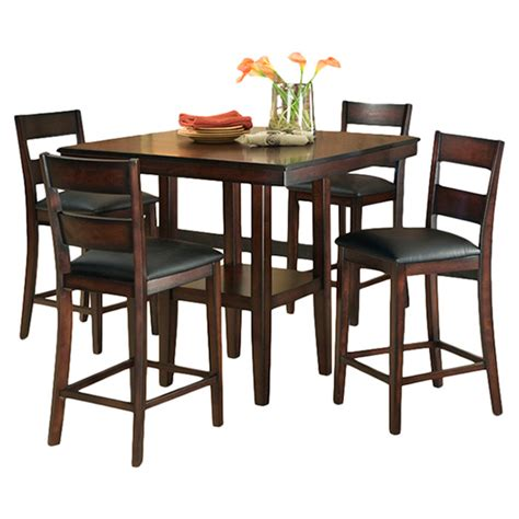 Dining Room Chair Height | 5 piece counter height dining room set table chair dinette furniture rustic new ebay