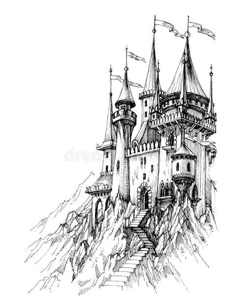 Casa Alta Do Conto De Fadas Com Um Terraço Ilustração do