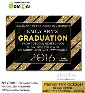 black gold glitter stripes graduation invitation