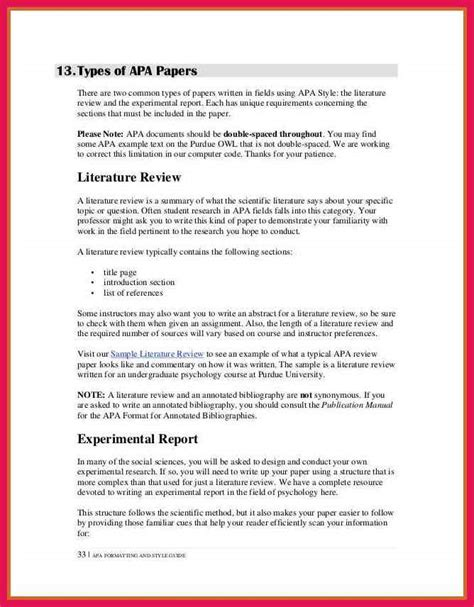 literature review template apa pages edition template literature