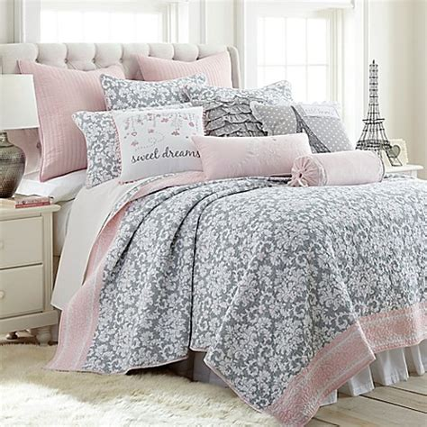 light pink quilt set levtex home margaux reversible quilt set in grey pink