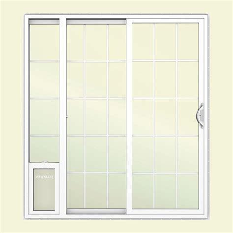 Vinyl Patio Pet Door Jeld Wen 72 In X 80 In White Left Vinyl Patio Door With Low E Argon Glass Grids And