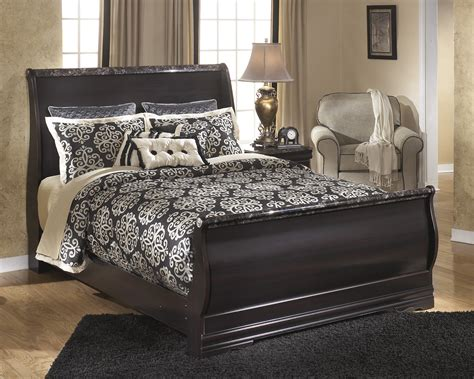 Esmeralda Sleigh Bedroom Set | ashley esmeralda traditional dark merlot finish queen size