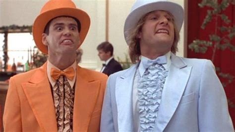 two guys in dumb dumber tuxedos attempted catch