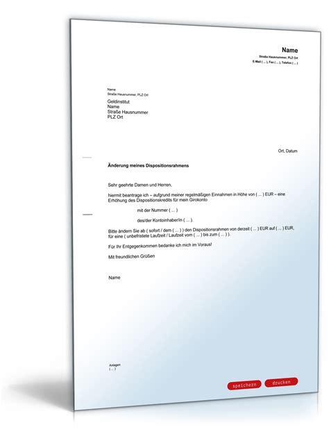 Musterbrief Bearbeitungsgebühr Kredit Sparkasse Antrag Auf Erh 246 Hung Des Dispositionskredites Dispo Kredit