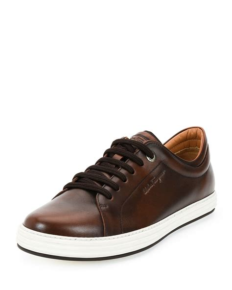 sneaker for lyst ferragamo newport burnished calfskin sneakers in
