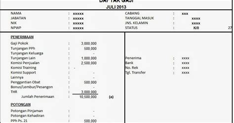 contoh slip gaji pekerja swasta excel contoh tiga contoh slip gaji orang tua dari rt contoh 193