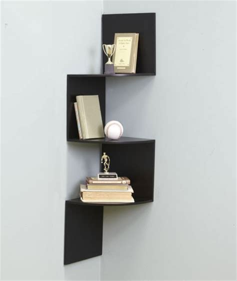corner wall shelf zigzag form designed for corner use