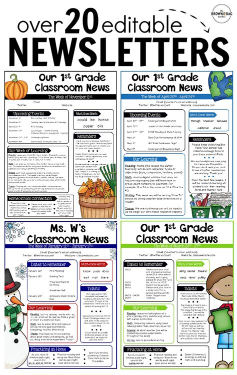 Editable Newsletter Templates Back To School Pinterest School Teacher And Classroom Monthly Classroom Newsletter Template