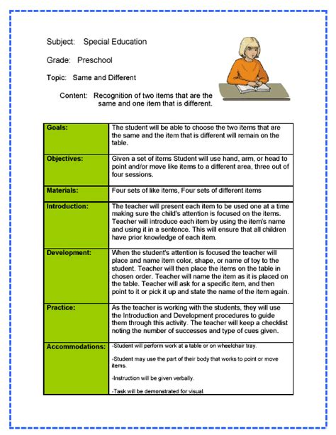 lesson plan template for special needs students special education lesson plan sle