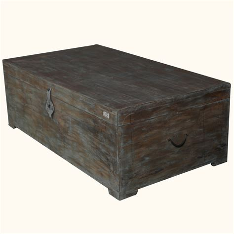 rustic mango wood distressed storage coffee table chest