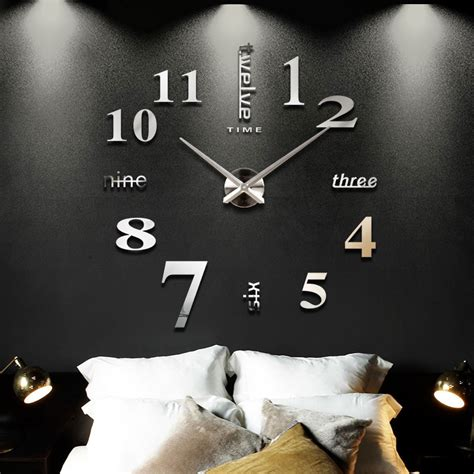 2016 new style large modern art decoration diy 3d wall 2016 new home decoration big mirror wall clock modern