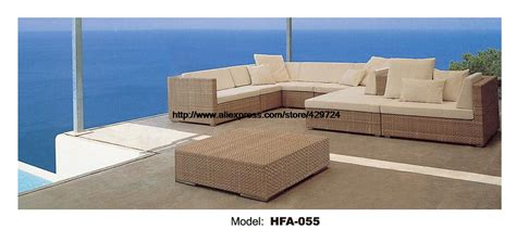 elegant outdoor l foam rattan sofa with cushions modern