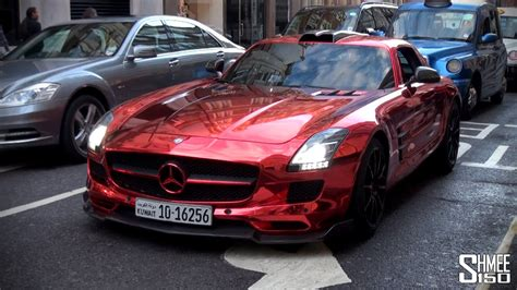 RED CHROME Custom Mercedes SLS AMG from Kuwait   YouTube