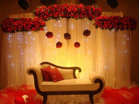 simple home decoration for engagement floral and curtain lights backdrop asianwedding decoration wedding inspiration