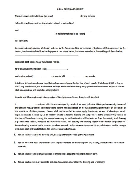 renting a room agreement room rental agreement template 11 free word pdf free free premium templates