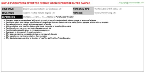 punch press operator resume sle template format