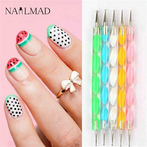 nail art tool tutorial aliexpress com buy 5pcs 2 way dotting tools marbling