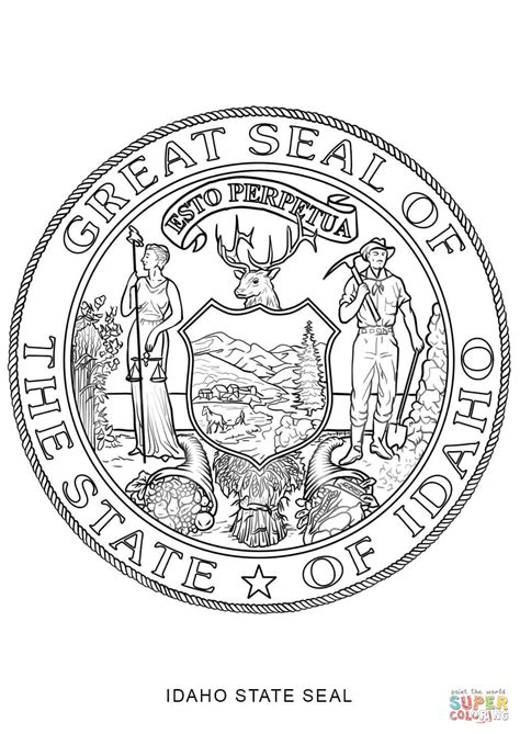 click the idaho state seal coloring pages idaho flag