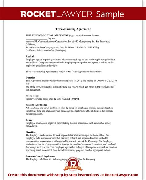 telecommuting agreement contract template with sample
