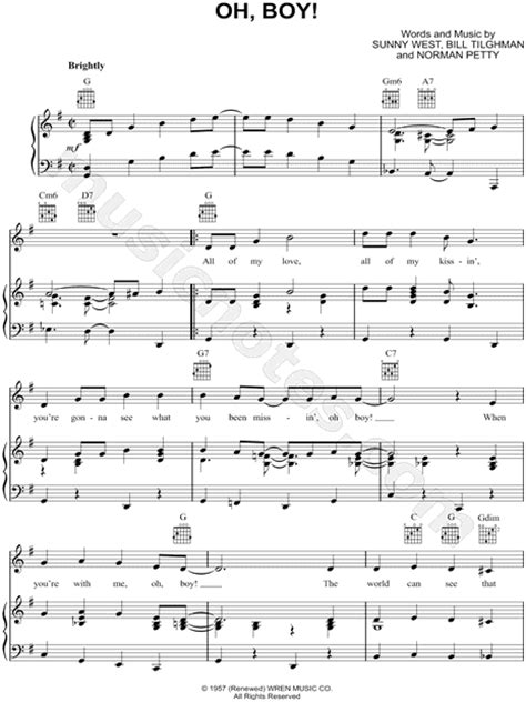 boy oh boy song buddy holly quot oh boy quot sheet music in g major