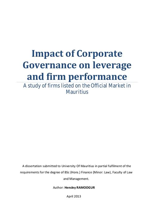 dissertation on corporate governance dissertation corporate governance and disclosure