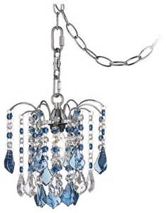 in swag chandelier contemporary nicolli blue 8 quot wide swag in