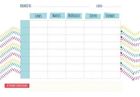 plantillas organizativas de todas clases para imprimir plantilla de horario semanal horario escolar horario y
