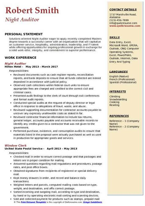 auditor resume samples qwikresume