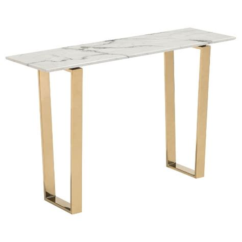 household essentials faux slate sofa table modern faux marble and stainless steel 47 quot rectangular