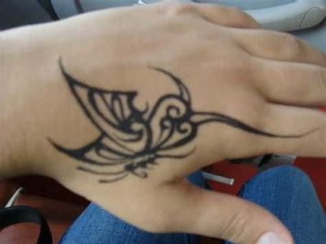 left hand black tattoo left black tribal butterfly