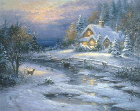 winter cottage winter cottage painting by ghambaro
