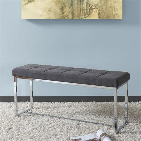 grey fabric bench corliving huntington modern grey fabric bench with chrome