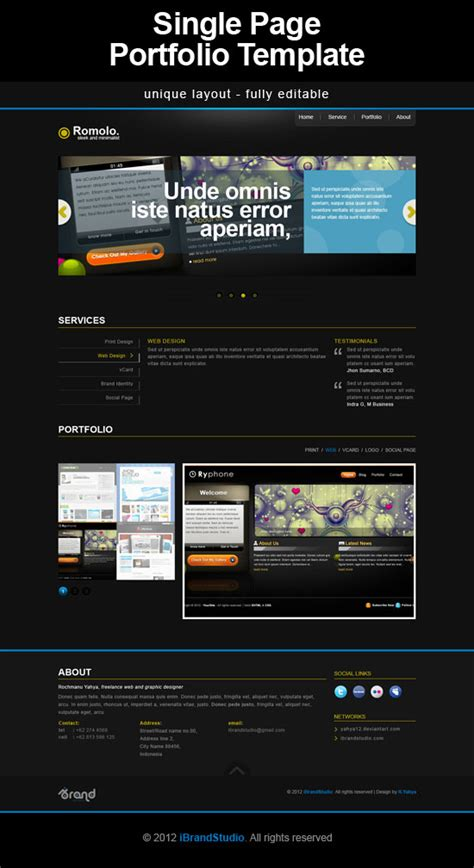 single page phlet templates one page portfolio template psd4free