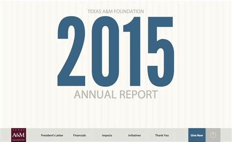 Texas A M Foundation 2015 Annual Report Foundation Annual Report Template